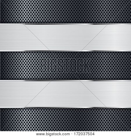 Metal background perforated with blank banner. Vector illustration