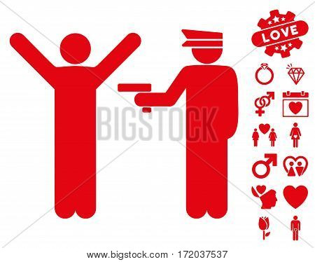 Police Arrest icon with bonus lovely symbols. Vector illustration style is flat iconic red symbols on white background.