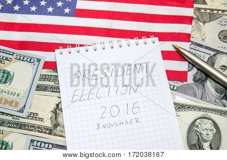 presidential election 2016 - flag, us money