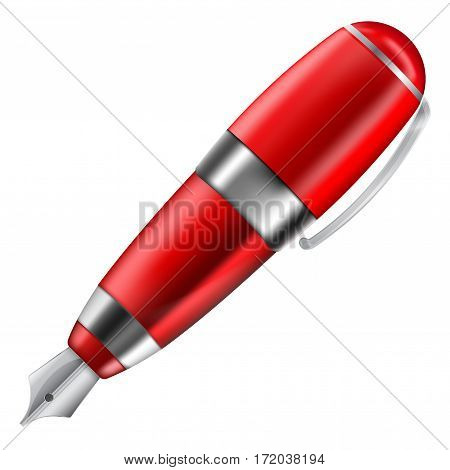 Fountain pen. Red writing tool with silver nib. Vector illustration isolated on white background