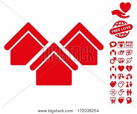 Real Estate pictograph with bonus lovely graphic icons. Vector illustration style is flat iconic red symbols on white background.