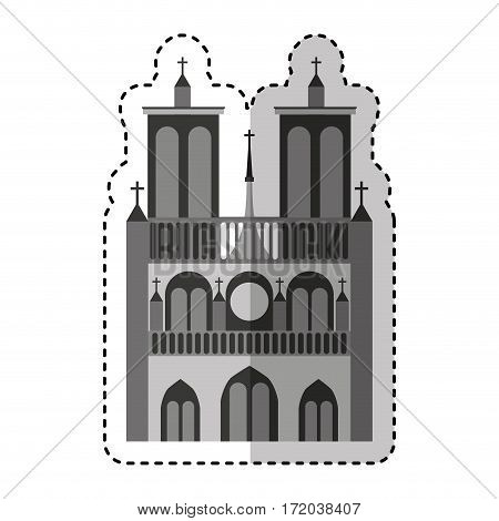 notre dame catedral monument vector illustration design