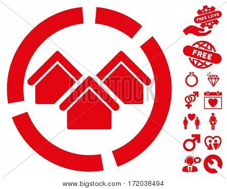 Realty Diagram pictograph with bonus decorative images. Vector illustration style is flat iconic red symbols on white background.