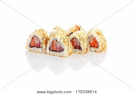 Roll Kyoto, salmon, tuna, grouper, chips, cream cheese, on a white background