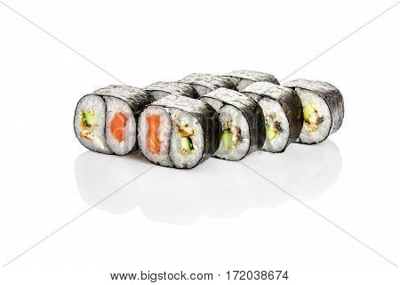 Roll Yin Yang, salmon, eel, sesame, cucumber on a white background