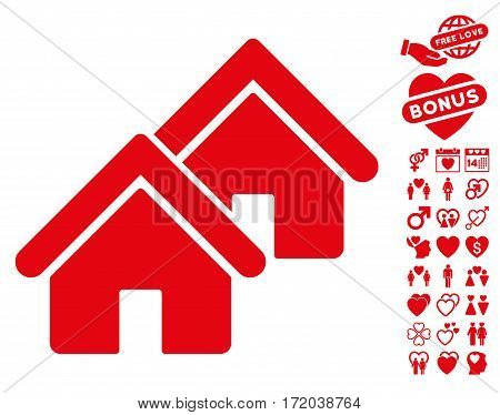 Realty icon with bonus decoration images. Vector illustration style is flat iconic red symbols on white background.