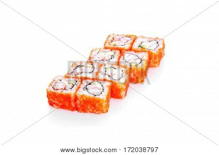 Roll, shrimp, eel, avocado, tobiko roe on a white background