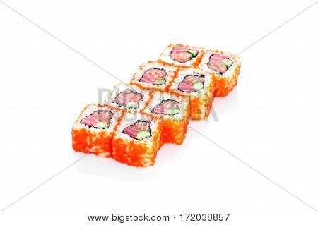 Edo Roll, tuna, salmon, cucumber, tobiko caviar on a white background