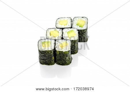 Roll with avocado, avocado on a white background