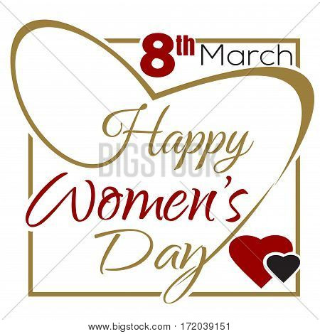Happy Women's Day. March 8th. International Women's Day. Typographic design. Vintage greeting card with lettering. Women's Day lettering card. Vector illustration