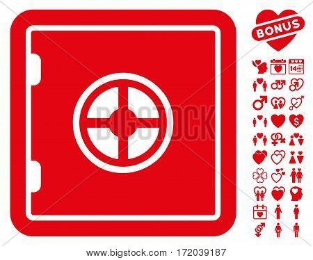 Safe icon with bonus valentine design elements. Vector illustration style is flat iconic red symbols on white background.