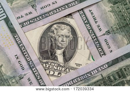 2 us dollar for background close up