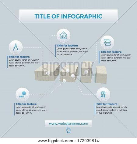 Building infographics elements set for bricks and house feautures achievements with icons vector illustration.