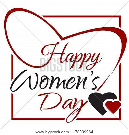 International Womens Day. Text for celebration greeting card design. Happy Womens Day. 8 March lettering card. Vector illustration