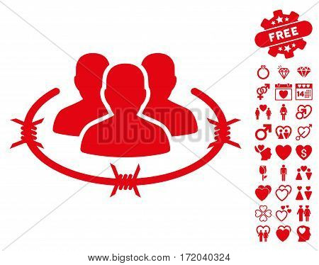 Strict Management pictograph with bonus valentine images. Vector illustration style is flat iconic red symbols on white background.