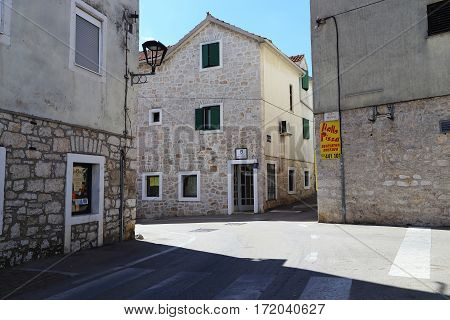 VODICE, CROATIA - SEPTEMBER 6, 2016: These are housing and construction of Croatian architecture which is typical for small coastal towns.