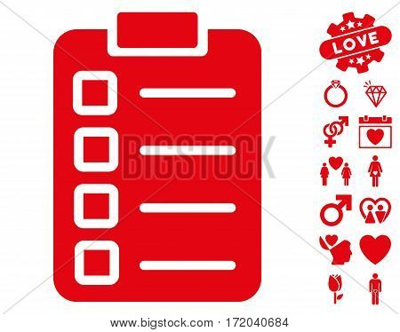 Test Task pictograph with bonus decorative pictograph collection. Vector illustration style is flat iconic red symbols on white background.