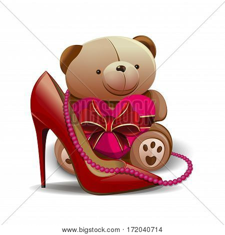 Women shoe, pink beads, teddy bear, heart. Design elements for  birthday, 8 March, Mothers, Women's Day, Valentine's Day and other holidays and romantic dates. Vector greeting card for girls and women