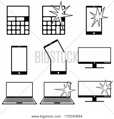 collection of various icons in black and white related to gadgets and computers broken and fixed