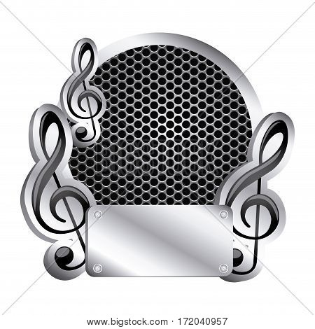 circular metallic frame with grill perforated and musical notes icon relief vector illustration