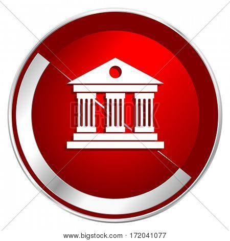 Museum red web icon. Metal shine silver chrome border round button isolated on white background. Circle modern design abstract sign for smartphone applications.