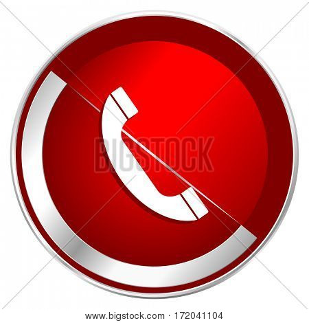 Phone red web icon. Metal shine silver chrome border round button isolated on white background. Circle modern design abstract sign for smartphone applications.