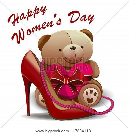 Happy Women's Day. Greeting card with women shoe, pink beads, teddy bear, heart. 8 March. Mothers Day. International Women's Day. Vector greeting card for girls and women. Womens holiday. Holiday card