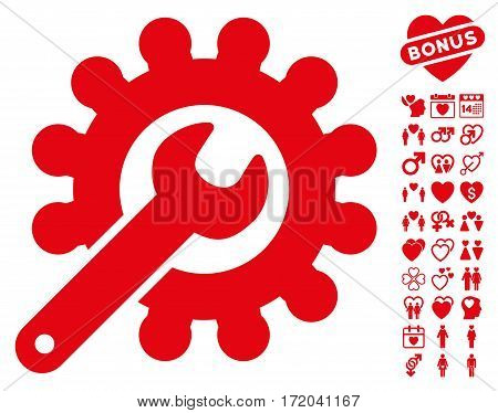 Wrench And Gear Customization Tools pictograph with bonus lovely clip art. Vector illustration style is flat iconic red symbols on white background.