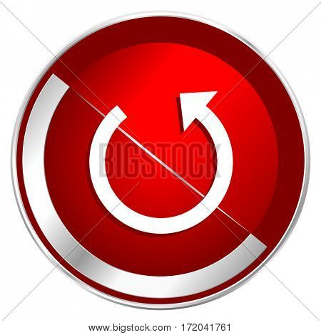 Rotate red web icon. Metal shine silver chrome border round button isolated on white background. Circle modern design abstract sign for smartphone applications.