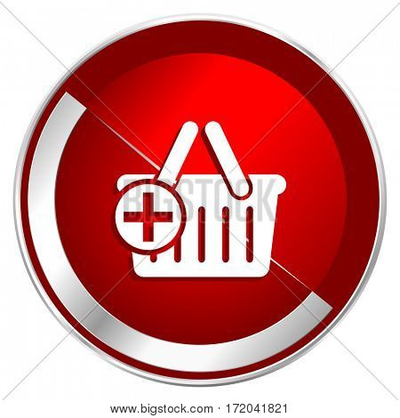Cart red web icon. Metal shine silver chrome border round button isolated on white background. Circle modern design abstract sign for smartphone applications.
