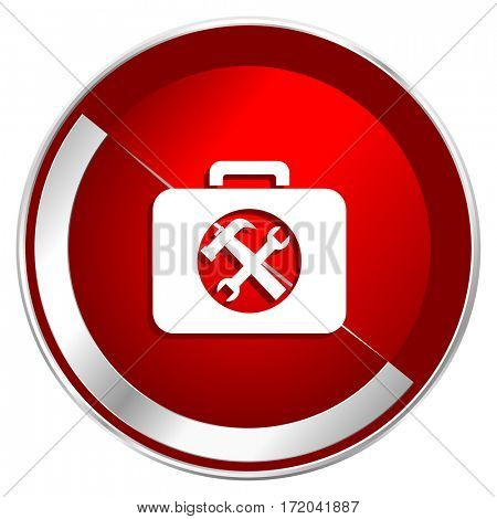 Toolkit red web icon. Metal shine silver chrome border round button isolated on white background. Circle modern design abstract sign for smartphone applications.