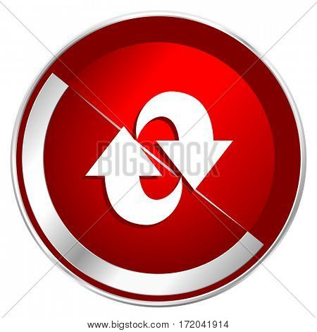 Rotation red web icon. Metal shine silver chrome border round button isolated on white background. Circle modern design abstract sign for smartphone applications.