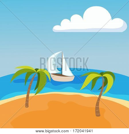 Sea landscape with boat on seychelles palm beach summer water beautiful background and tourism tropical beauty scene coast vacation horizon vector illustration. Tranquil coastline sky with cloud.