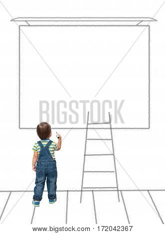 Child Draws On A Blank Wall  In The School