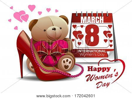 Happy Women's Day. 8 March. Vector greeting card with women shoe, calendar, pink beads, teddy bear, toy, heart. International Women's Day. Vector greeting card for girls and women. Womens holiday card
