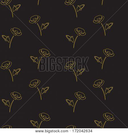 seamless floral pattern with poppies. gold on black background. vector illustration.