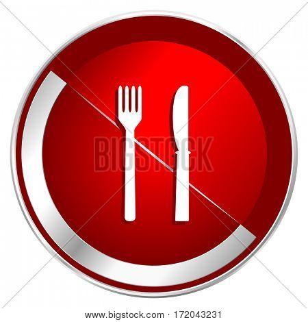 Eat red web icon. Metal shine silver chrome border round button isolated on white background. Circle modern design abstract sign for smartphone applications.