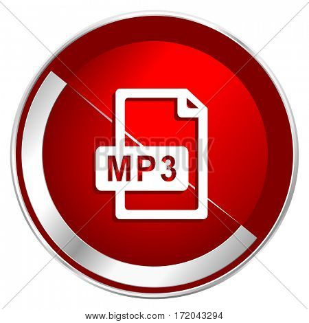 Mp3 file red web icon. Metal shine silver chrome border round button isolated on white background. Circle modern design abstract sign for smartphone applications.
