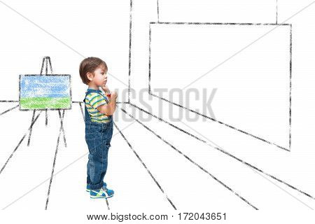 The Child Looks At A Picture Of A Blank