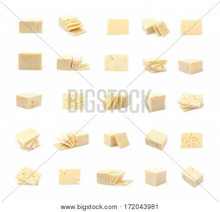 Piece of cheese isolated over the white background, set of multiple different foreshortenings