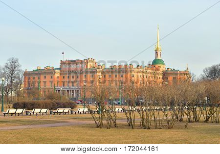 The Mikhailovsky Castle and Field of Mars in St.Petersburg at sunny spring evening Russia.