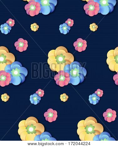 Colorful seamless Flower pattern background print for textiles