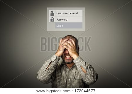 Frustrated man. Forgot password concept. Man suffering from headache.