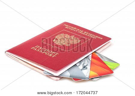 Passport And Credit Cards On A White Background