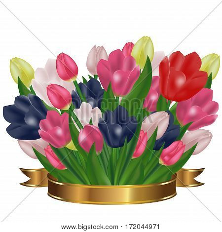 Bouquet of tulips with a gold ribbon. Festive spring flowers. Holiday symbol. Vector illustration.