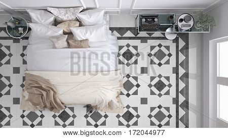 Classic bedroom top view with marble old vintage gray tiles, 3d illustration