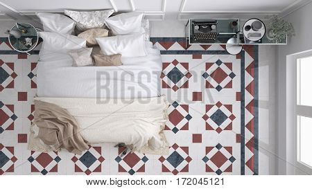 Classic bedroom top view with marble old vintage blue and red tiles, 3d illustration
