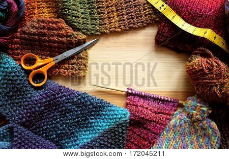 Border Of Knitting, Wool, Craft Scissors And Tape Measure