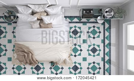 Classic bedroom top view with marble old vintage blue and turquoise tiles, 3d illustration