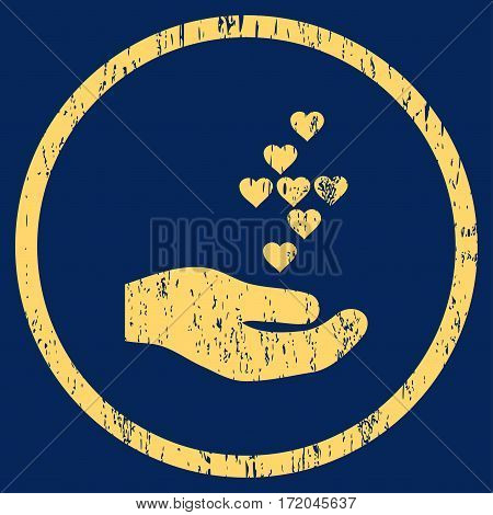 Love Hearts Offer Hand grainy textured icon for overlay watermark stamps. Rounded flat vector symbol with unclean texture. Circled yellow ink rubber seal stamp with grunge design on a blue background.